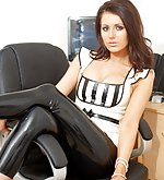 Lana in white latex top and black latex pants