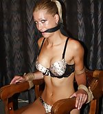 Chair-tied, cleave-gagged, tit-grabbed