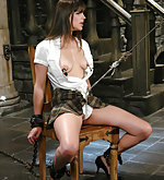 Beautiful girl gets classic slave training