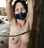 Wet girl was chained and brutal whipped