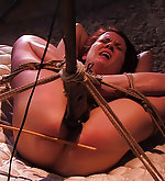 Tightly roped, clamped and forced to cum