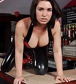 Katie in red latex top and black latex leggins