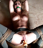 Ally gets bound, stripped, machine-fucked
