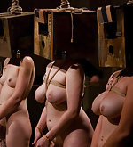 Six girls in full-scale slave audition