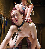 Chained, roped, strap-on fucked in the ass