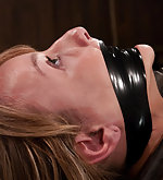 Blonde fixed, tape-gagged and made to cum