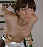 Handcuffed, tits clasped, tied up and spanked