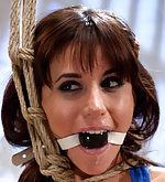 Roped, ball-gagged, strapon ass fucked