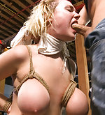 Giant natural tits tied and fucked in public