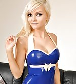 Natalie in blue latex top and blue stockings