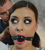 Billie bound spread, ball-gagged, tit-grabbed