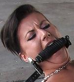 Czech model tied and fucked in public