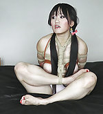 Cutie roped, hogtied and strapon fucked