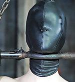 Metal bondage, clamps, hood, suspension