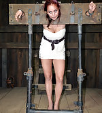 Locked into the stocks, pussy clamped