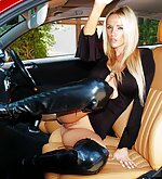 Car flashing in public in a skin tight dress