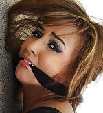 Kayla overpowered, hogtied, cleave-gagged