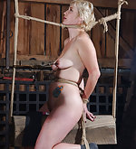 Roped to the wooden horse and clamped