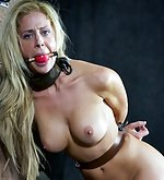 Beauty cuffed, stripped, tits-clasped and dildoed