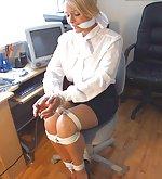 Cute secretaries in office bondage