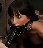 Brunette chained, trained, dildoed and used