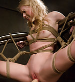 Sarah roped, suspended, machine fucked
