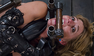 Pretty blond in her first extreme bondage
