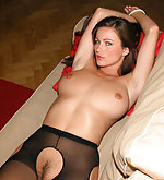 Kyla tied in crotchless pantyhose