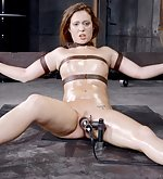 Strapped to bondage device, vibed and used