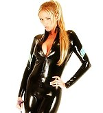 Gorgeous blonde wearing a leather cat suit