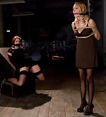 Two bondage whores roped, clamped & trained