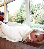 Europian blond is hogtied and cleave-gagged