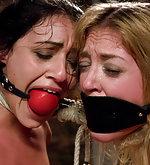 Beautiful ladies get orgasms in bondage