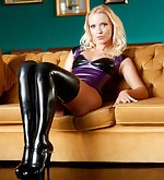Black latex stockings and high heels