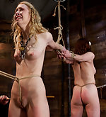 Two slavegirls roped, caned, trained & vibed