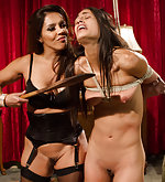 Two lesbians punished, roped and fucked