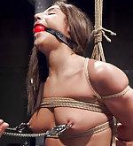 Heavy bondage, hard nipple clamps, hard anal