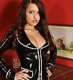 Jennifer poses in shiny latex suit