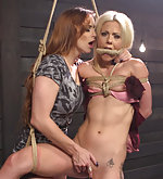 Hot slutty blond gets roped and dominated