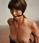 Suze chair-tied, cleave-gagged, tit-grabbed