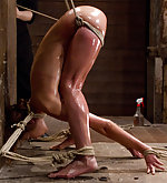 Bound tightly, fisted anally, double penetrated