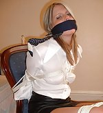 Silk and satin blouses & scarf bondage