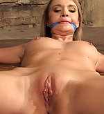 Bound spread-eagle, cleave-gagged, vibed, dildoed