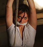 Roped & chained in uncomfortable position