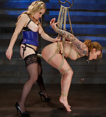 Roped, suspended, strapon-fucked, trained
