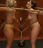 Two girls roped, clamped, hooked, dildoed
