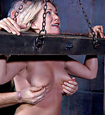 Put into stocks, cuffed, caned, dildoed