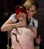 Roped, pegged, caned and strapon fucked