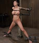 Busty latina stripped, bound and made to cum