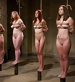 Six naked girls roped and humiliatingly tested
